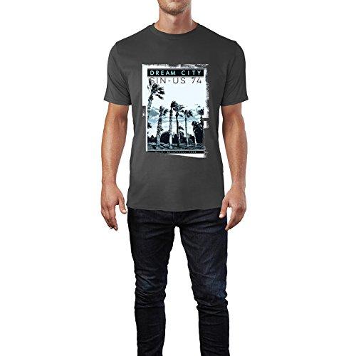 SINUS ART® Fotografie mit Palmen Dream City Herren T-Shirts in Smoke Fun Shirt mit tollen Aufdruck