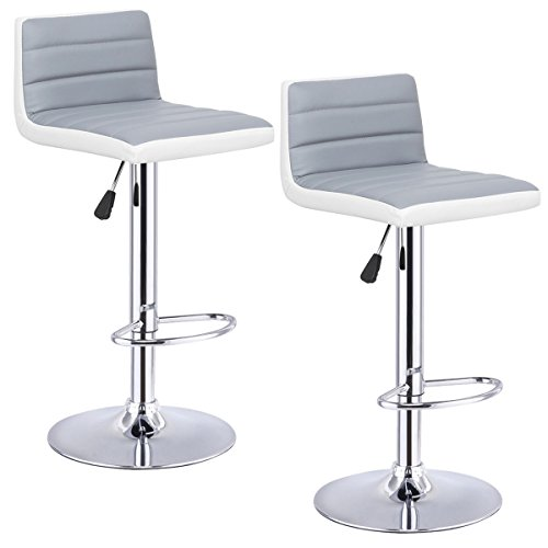 Costway Swivel PU Leather Adjustable Bar Stools Set of 2