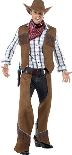 Smiffy's Men's Fringe Cowboy Costume, Waistcoat, Chaps, Neckerchief and Hat, Western, Serious Fun, Size M, 22656 - Halloween Cowboy Costume