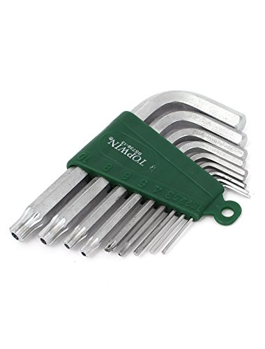 L Shaped T10 to T1.5 Metal Hex Key Wrench Tool Silver Tone Set 9 in 1
