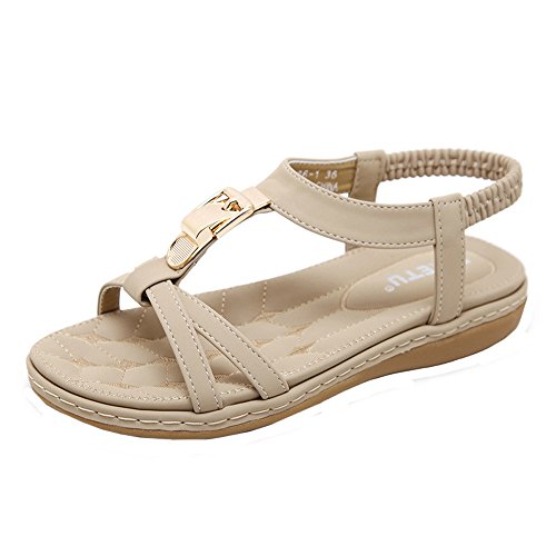 Women Summer Sandals Flat Leather Boho Sandals with Elastic