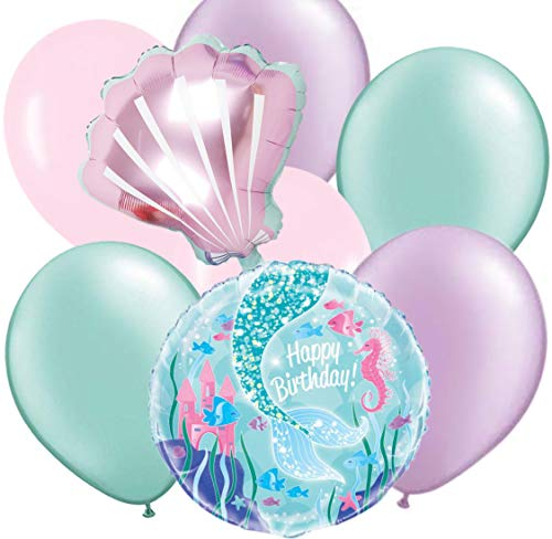 (Mermaid Balloons Party Decorations | 8 Balloons Set | Light Pink, Light Purple and Mint Colors | Includes 6 Plain Colored Balloons, 1 Seashell Shaped Balloon and 1 Round Mermaid Themed Balloon with Ha)