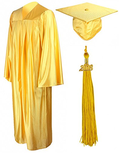 GraduationMall Shiny Graduation Gown Cap Tassel Set 2018 For High School Gold 45FF(5'0''-5'2'') by GraduationMall