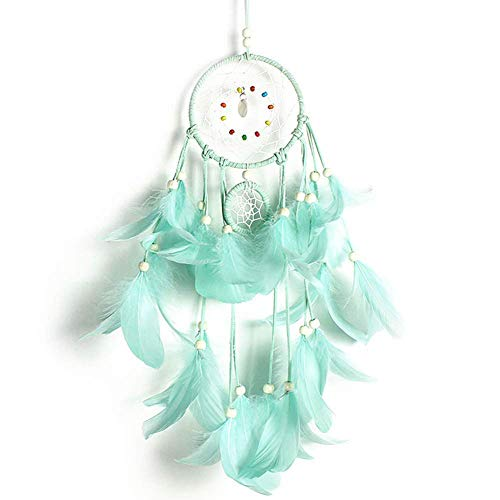 XUANDADIANZ Princess Style Dream Catcher Handmade Feather Wall Hanging Decoration Ornament Gifts (One Size, Mint Green)