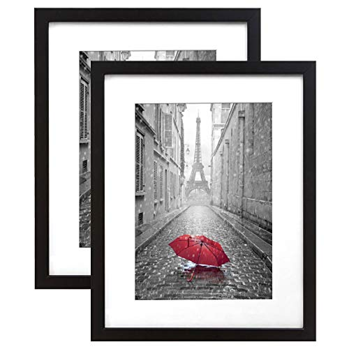 Six Frame Display - Americanflat 2 Pack - 9x12 Black Picture Frames - Display Pictures 6x8 with Mats - Display Pictures 9x12 Without Mats - Wall Mountable - Digital Camera Photography