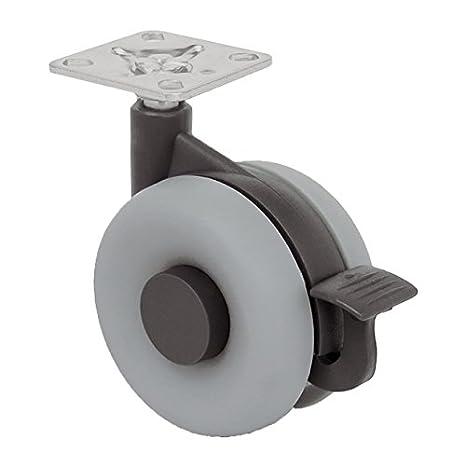 No marca el suelo Di/ámetro 75mm con placa de montaje y tornillos incluidos 75MM Silenciosa Cojinete Liso. QC L75G22P 4 Ruedas para muebles 2 con freno y 2 sin freno