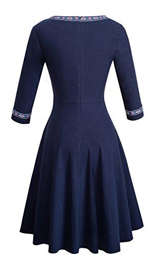 con da a Cocktail Sweep A girocollo A066 Blu lunga donna Scuro manica donna Dress Vintage maniche a Flare Day HOMEYEE da qYfAx1Y