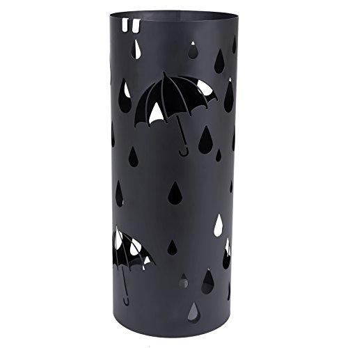 Songmics metall Schirmständer mit Wasserauffangschale Haken rund Ø 19.5 x 49 cm schwarz LUC23B