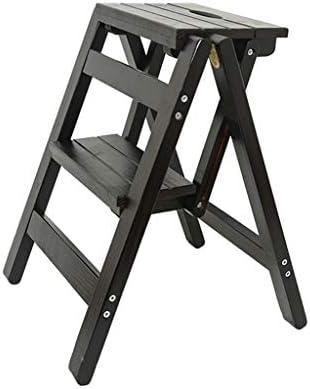 折り畳み式の2ステップスツール木製はしご椅子多機能木製はしご棚ホームデコレーションとライブラリはしごステップスツール(色:B)