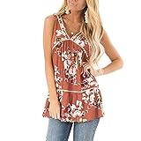 2019 Women's Boho Summer Floral Print Vest Casual Sleeveless V Neck Beach Tank Tops (Orange, L)