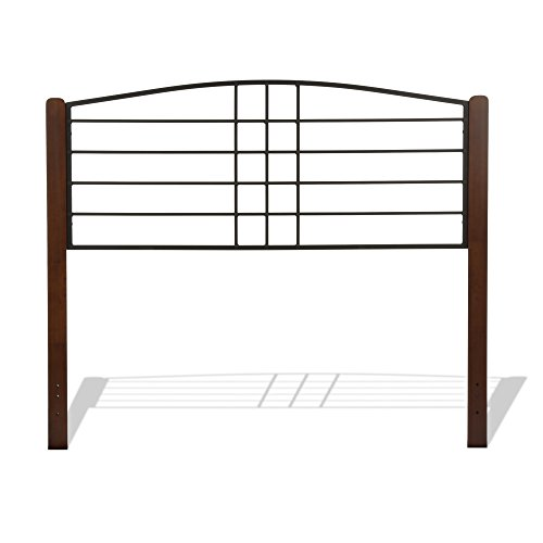 Dayton Complete Bed with Metal Panels and Flat Wooden Posts, Black Grain Finish, King