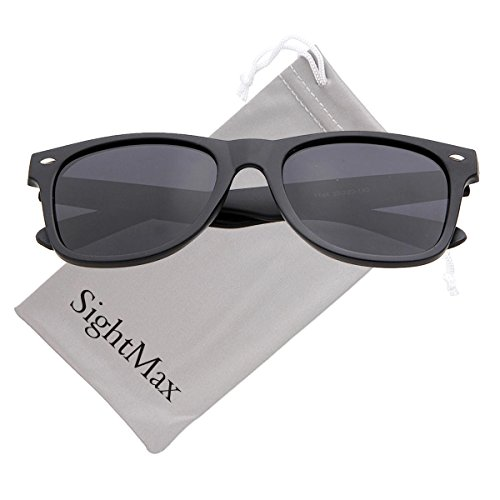 SightMax Polarized Classic Fashion Style Frame Retro Sunglasses (Dumb Black Frame/Black Lens, - Sunglasses Dumb
