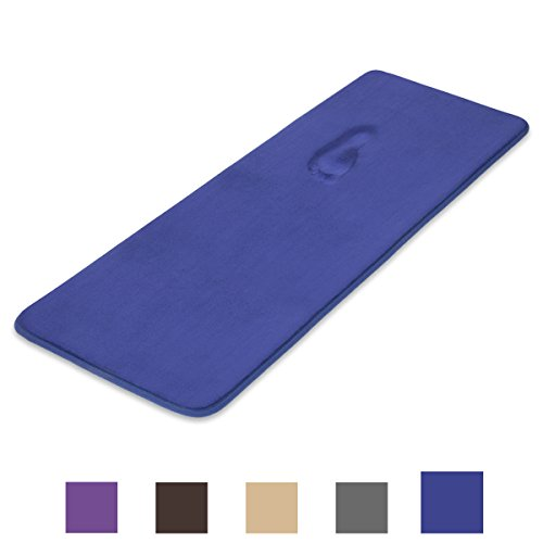 (ITSOFT Slow Recovery Memory Foam Bath Mat Non-Slip Water Absorbent Bathroom Rug, Machine Washable, 24 X 58 Inch Royal Blue)