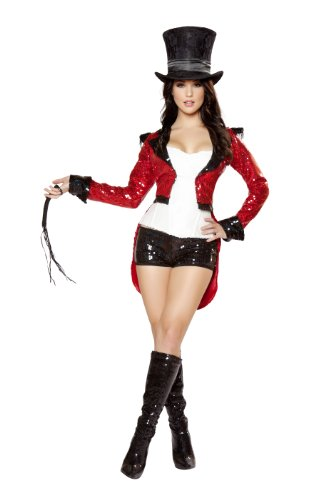 Ringmaster Costume Whip (Roma Costume 5 Piece Radiant Ringmaster Costume, Red/Black/White, Small)