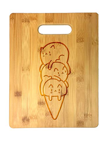 Randy Otter Cute Cat Ice Cream Cone - Laser Engraved Bamboo Cutting Board - Wedding, Housewarming, Anniversary, Birthday, Father's Day, Gift (Ice Cream Board)