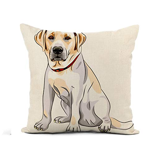 (Awowee Flax Throw Pillow Cover Lab Portrait of Serious Yellow Dog Breed Labrador Retriever 18x18 Inches Pillowcase Home Decor Square Cotton Linen Pillow Case Cushion)