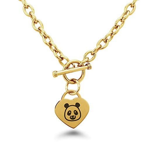 Gold Plated Stainless Steel Panda Icon Heart Charm Toggle, Necklace Only ()