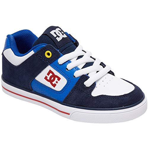 DC Boys' Pure Sneaker, Navy/RED, 10.5M M US Little Kid (Kids Dc Shoes)