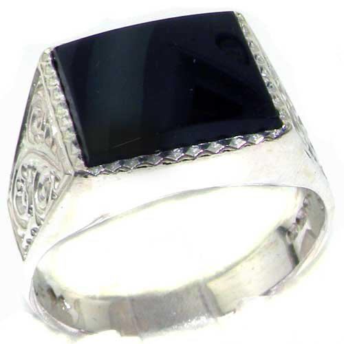 Gents Solid 925 Sterling Silver Natural Onyx Mens Signet Ring - Size 8 - Sizes 6 to 13 Available ()