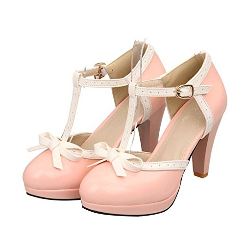 Rritoce Women's Round Toe High Heel Shoes Bow T-strap Mary Jane Pumps Pink6 B(M) US Cute