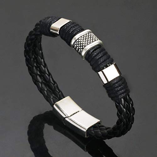 Liujun Mens Bracelet Zinc Alloy Charm Couple Bracelet Black Brown Leather Distance Bracelet for Women Jewelry Gifts Large Size 8.5 Inch