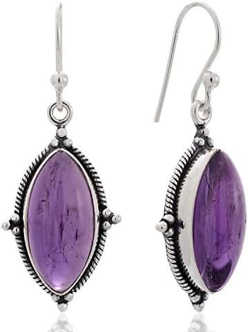 925 Sterling Silver Natural Gemstone Vintage Marquise Shape Rope Edge Dangle Hook Earrings 1.4