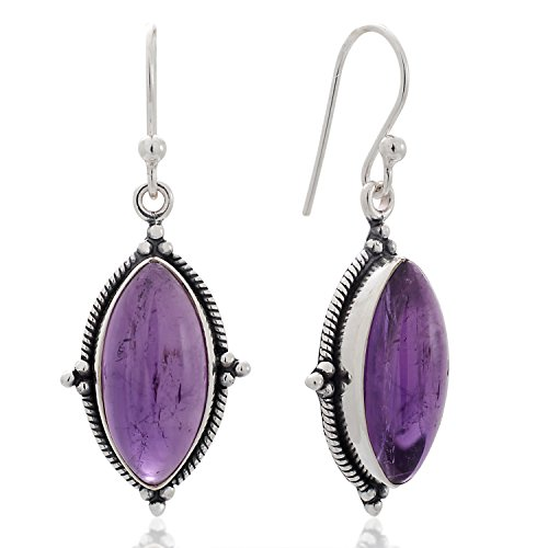 925 Sterling Silver Amethyst Gemstone Vintage Marquise Shape Rope Edge Dangle Hook Earrings (Silver Amethyst Rope)
