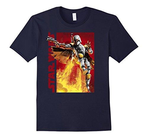 Fett Jet Pack - Mens Star Wars Boba Fett Jetpack Turbo Character Profile T-Shirt Large Navy