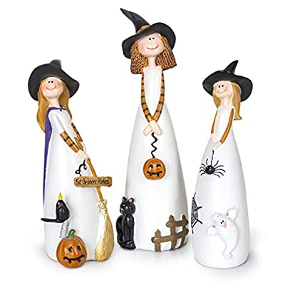 Besti Halloween Witch Decorations, 3 Piece Set, Cute Home and Party Holiday Decor and Fall Accents, Classic Witches Hats, Cat, Ghost, Crow, and Pumpkins, Ceramic Figurines - Classic Halloween Decorations – This super cute trio of witches are ready to cast a few spells in your home's kitchen or living room as holiday or party decorations. Beautifully-Intricate Details – Our witch figurines each feature a tall, pointed hat and a variety of adorable accessories like spiders, pumpkins, a black cat, and broom. Individual or Group Display – Every set includes three witch decorations that can be placed together in a coven or displayed individually in different rooms for added fun. - living-room-decor, living-room, home-decor - 419rHWrwAQL. SS400  -