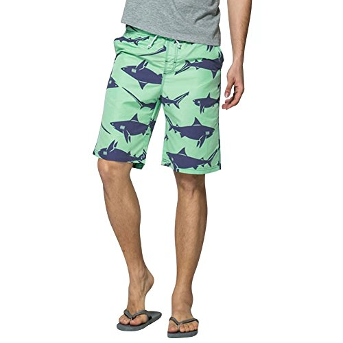 nuosife Men Swin Trunk Shark Printed Summer Beach Surfing Boardshorts Mesh Lining