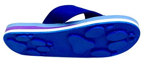 1fbcc67c6 Galleon - Wolf Blue Large Kids Paw Print Flip Flops Fun For Beach ...