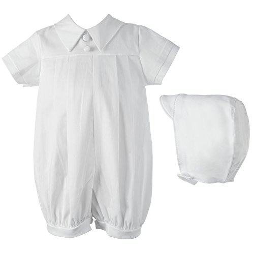 (Lauren Madison baby boy Infant Christening Baptism Polished Short Romper , White, 6-9 Months)