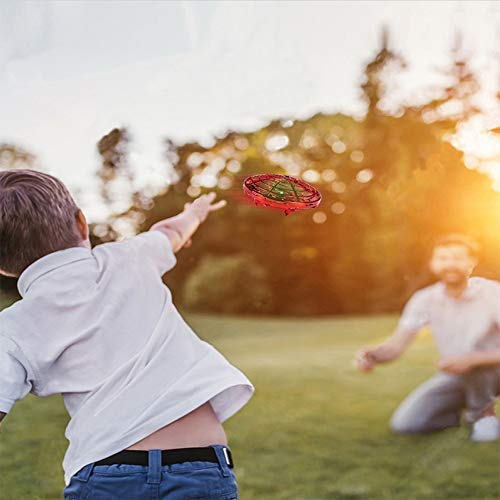 BOMPOW Boys Toys Kids Flying Drones Mini Hand Controlled Flying Ball Drone with 2 Speed and LED Light for Kids, Boys and Girls Gift (Red) by BOMPOW (Image #4)