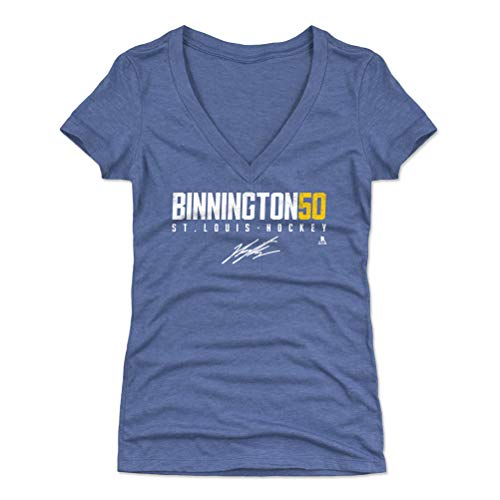 - 500 LEVEL Jordan Binnington Women's V-Neck Shirt (X-Large, Tri Royal) - St. Louis Blues Shirt for Women - Jordan Binnington Elite Y WHT