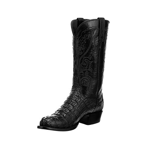 Lucchese Men's T3185 Black Hornback Caiman Tail/Black Goat Western Boots - Mens Caiman Tail