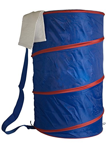 Portable Lightweight Mesh Barrel Pop-Up Laundry Hamper Keep Your Dirty Laundry Off The Floor (Blue & Red) (Furniture Rattan Singapore Bamboo)