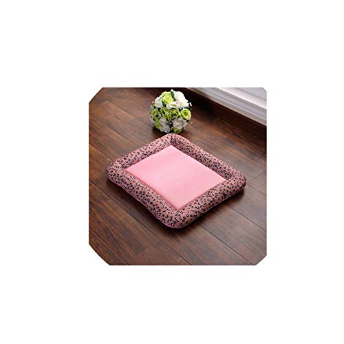 Breathable Anti-Slip Spring Summer Pet Dog Bed Puppy Ice Silk Mat Cushion for Car Floor Sofa Cat Dogs Nest Kennel Mattress Pad,Pink net C,M