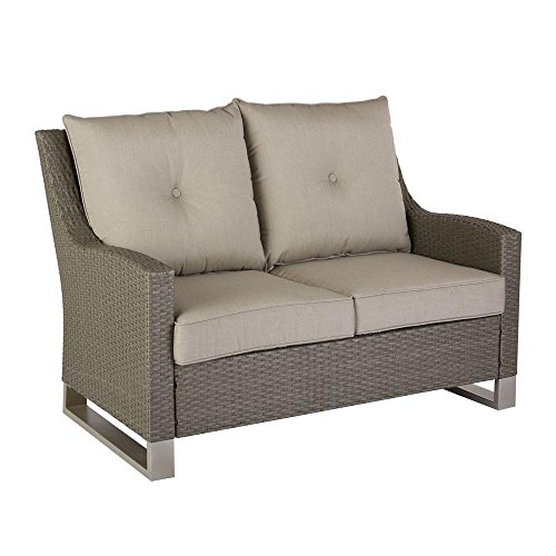Hampton Bay Broadview Patio Loveseat with Sunbrella Spectrum Dove Cushions