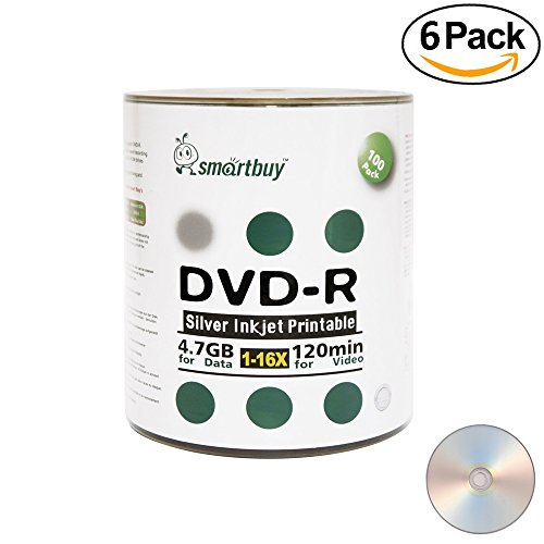 Smart Buy 600 Pack DVD-R 4.7gb 16x Silver Printable Inkjet Blank Record Disc, 600 Disc 600pk by Smart Buy
