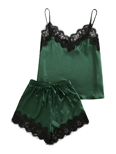 MAKEMECHIC Women's Lace Satin Sleepwear Cami Top and Shorts Pajama Set Green XS