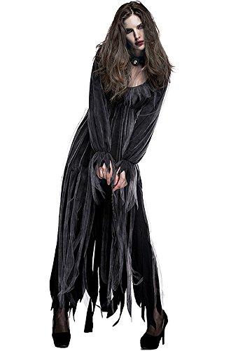 Honeystore Women's Cemetery Zombie Ghost Bride Costume Corpse Bride Fancy Dress M]()
