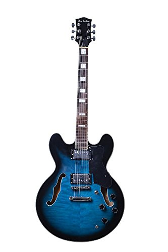 Directly Cheap 6 String Semi-Hollow-Body Electric Guitar, Blue + Free Lessons (GE355-BU+Lessons)