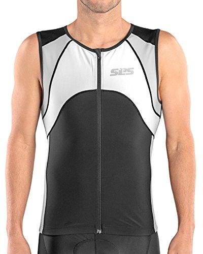 SLS3 Triathlon Men`s FX Tri Top | 3 Pockets | Full Zipper | Jersey | Singlet | Tank | German Designed (Black/Grey, M)