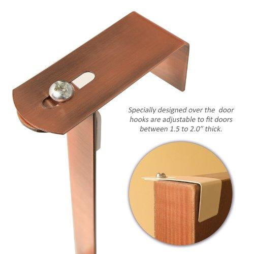 Adjustable width over the door bronze metal clothing rack for 12 hook over the door coat rack