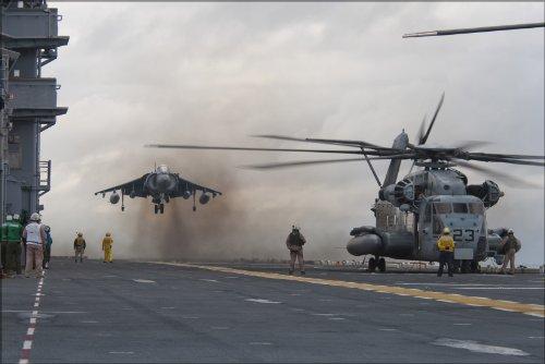 20x30 Poster; Av-8 Harrier & Mh-53E Sea Dragon Helicopter Aboard Uss Nassau (Lha 4) ()