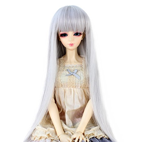 Miss U Hair Long Straight Hair 9-10 Inch 1/3 BJD MSD DOD Pullip Dollfie Doll Wig Not for Human (Silver Grey) -