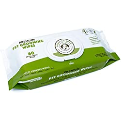 Biodegradable Dog Wipes | Grooming Pet Wipes for Dogs (Cat Wipes), Eye, Ear & Paw Puppy Wipes, Deodorizing, Hypoallergenic, Natural Extracts & Fragrance Free, Extra Thick & Soft, Supports Rescues