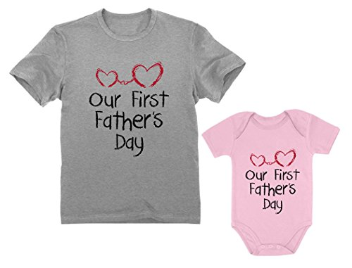 Our First Father's Day Dad & Baby Matching Set Infant Bodysuit & Men's T-Shirt Dad Gray Large/Baby Pink 24M (18-24M)