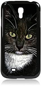 Cat with Green Eyes- Case for the Samsung Galaxy S4 i9500- Hard Black Plastic Snap On Case