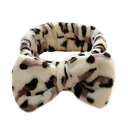 Edtoy 1pcs Women Makeup Headbands for Washing Face Shower Spa Mask, Soft and Cute Big Bow Hair Bands for Women and Girls, Leopard